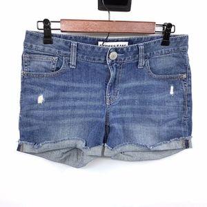 Express Blue Jean Fray Cuffed Denim Shorts